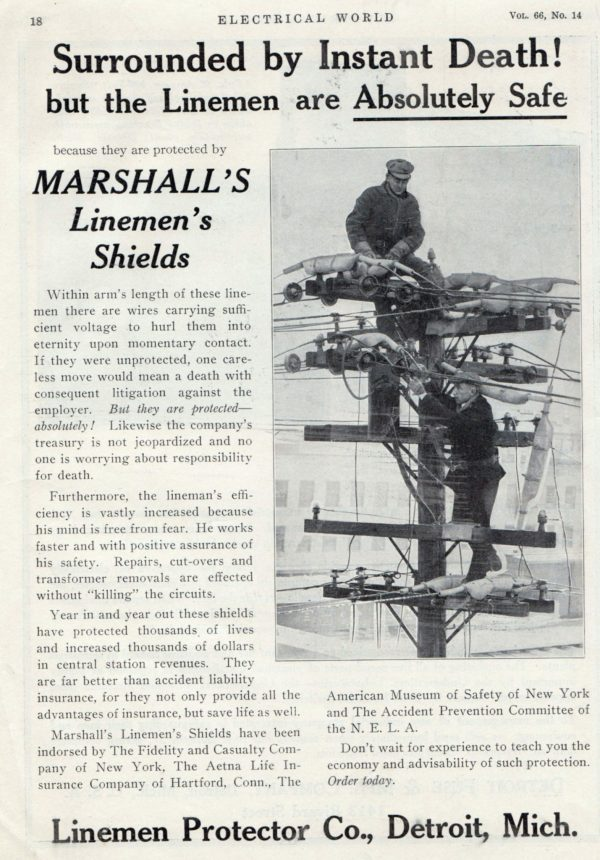 Linemen safety Marshall linemans shields