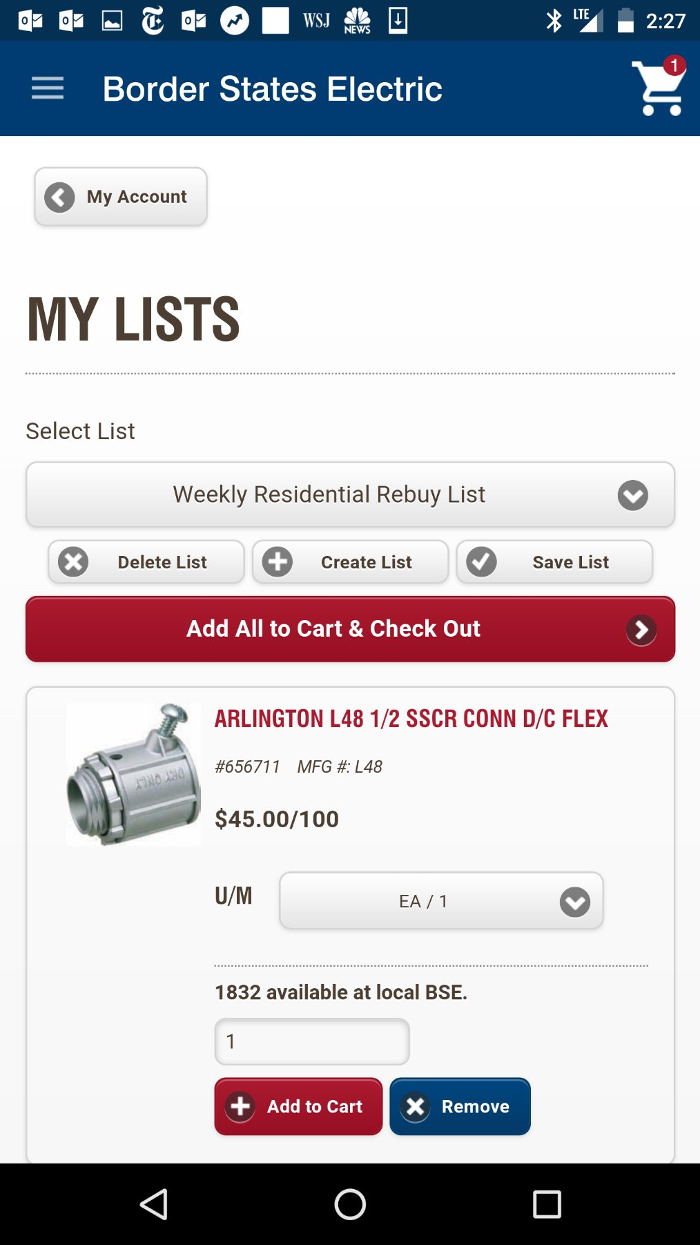 Order your regular materials in seconds with Border States 'My Lists'